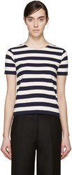 Nlst Navy And Cream Striped T Shirt