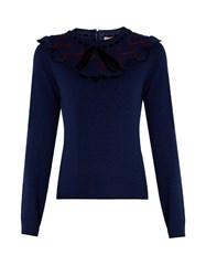 Roksanda Ilincic Langton Wool And Cashmere Blend Sweater Navy Multi