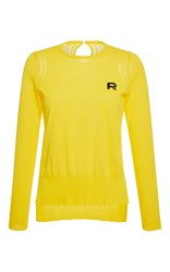 Rochas Long Sleeve Cotton Knit Top Yellow