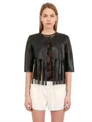 Blancha Fringed Laminated Nappa Leather Jacket