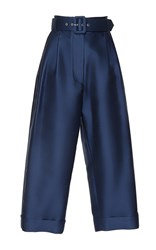 Isa Arfen Safari Belted Tapered Trousers Blue