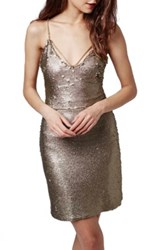 Topshop Strappy Sequin Dress Regular And Petite Metallic