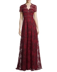 Catherine Deane Short Sleeve Lace Gown Port Red Black