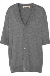 Michael Kors Cashmere And Cotton Blend Cardigan Gray