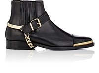 Balmain Men's Harness Strap Leather Chelsea Boots Black
