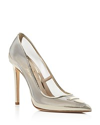 Alejandro Ingelmo Tron Metallic Mesh Pointed Toe Pumps Platino