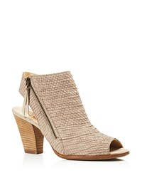 Paul Green Alexandra Open Toe High Heel Zip Booties Taupe