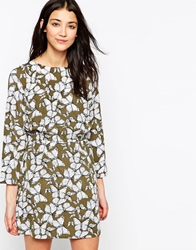 Vero Moda Long Sleeve Butterfly Print Skater Dress Khaki