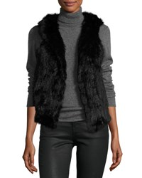 525 America Hooded Rabbit Fur Vest Black