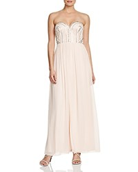 Aqua Strapless Beaded Bodice Gown Blush