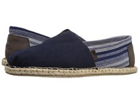 Toms Seasonal Classics Navy Hemp Stripe Men's Slip On Shoes Black