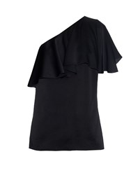 Lanvin One Shoulder Washed Satin Ruffle Top