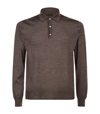 Corneliani Long Sleeve Polo Shirt Male Chocolate