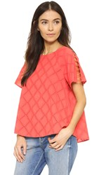 Madewell Embroidered Lattice Top Coral