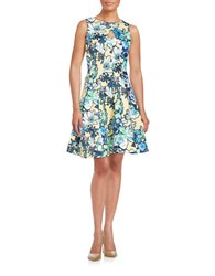 Gabby Skye Floral Fit And Flare Dress Yellow Blue