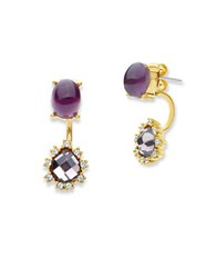 Lonna And Lilly Cubic Zirconia Drop Stud Earrings Burgundy