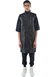 Rick Owens Long Sleeveless Leather Parka Jacket Black