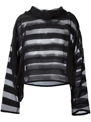 Ivan Grundahl Oversized Sheer Striped Blouse Black