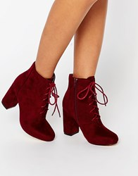 London Rebel Lace Up Block Heeled Ankle Boots Burgundy Mf Red