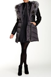 Nicole Benisti Genuine Fox Fur Trim Faux Leather Sleeve Down Coat Gray