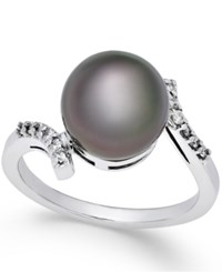 Macy's Cultured Tahitian Pearl 10Mm And Diamond 1 10 Ct. T.W. Ring In 14K White Gold Black