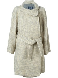 Armani Jeans Belted Tweed Coat Nude And Neutrals