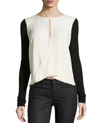 Halston Key Hole Detail Blouse Cream Black Ivory Black