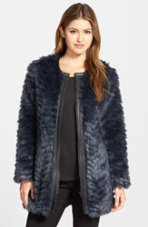 Nydj 'Magical' Faux Fur Jacket Knight Blue