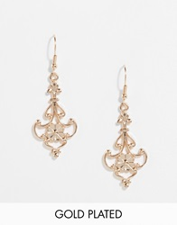 And Mary Gold Plate Vintage Style Drop Earrings Goldplate