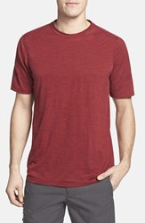 Men's Ibex Regular Fit Overdyed Merino Wool T Shirt Red Ant Heather