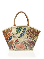 Tory Burch Leaf Embroidered Straw Tote Natural