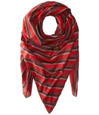 Manila Grace Striped Scarf Red Fuchsia
