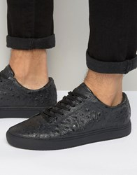 Religion Ostrich Print Trainers Black