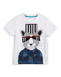 Little Marc Jacobs Short Sleeve Fancy Panther Jersey Tee White