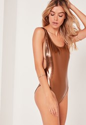 Missguided Pu Low Side Swimsuit Bronze Bronze