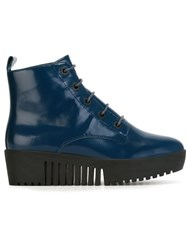 Opening Ceremony Lace Up Platform Boots Blue