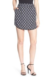 Trouve Women's Pull On Skirt Black Blurred Pinstripe