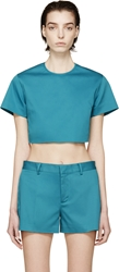 Dsquared Peacock Blue Twill Crop Top