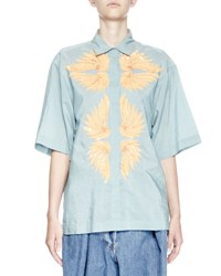 Dries Van Noten Covin Embroidered Half Sleeve Shirt Blue Yellow