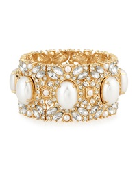 Rj Graziano R.J. Graziano Golden Pearly Crystal Stretch Bracelet Gd Clr Prl