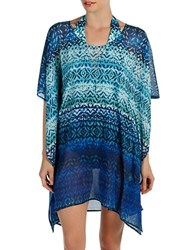 Karen Kane Catalina Caftan Cover Up Blue