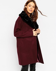 Asos Coat With Shaggy Faux Fur Collar Berry