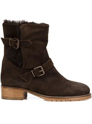 Chuckies New York Buckle Strap Ankle Boots Brown