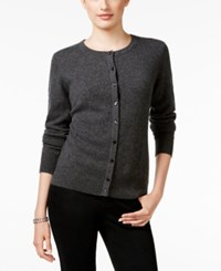 Charter Club Cashmere Crew Neck Cardigan Only At Macy's Heather Cinder