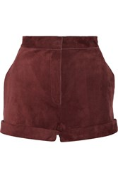 Valentino Suede Shorts Red