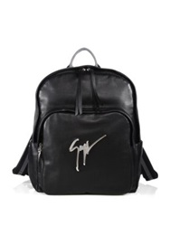Giuseppe Zanotti Perforated Leather Logo Backpack Black