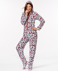 Hello Kitty Fleece Hooded Footed Pajamas White