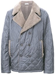 Tomas Maier Quilted Double Breasted Coat Grey