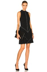 Wes Gordon Rock Neck Ruffle Dress In Black