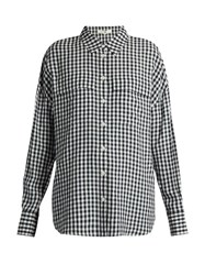 Tibi Point Collar Gingham Blouse Navy Multi